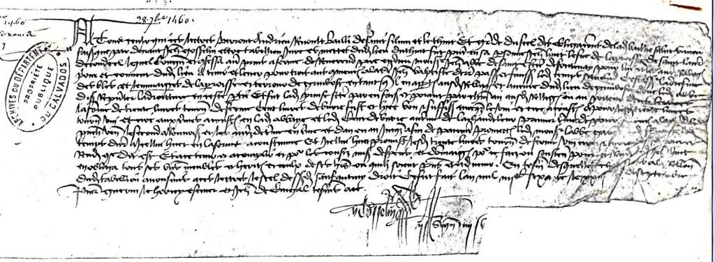 Le parchemin de 1460 qui fait mention du trait de dîme du Vieux Grimbosq