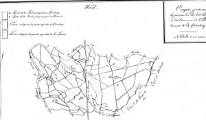 Archives départementales du Calvados 3P79 Plan de la forêt qui résume les propositions de partage.