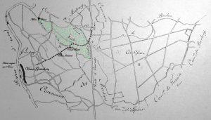 Sur ce plan dressé pour les opérations de révision du partage de la forêt (1824), j'ai porté les renseignements suivants : Emplacement du Vieux Grimbosq ; chemin suivi par le curé et les paroissiens(les chemins aux abords du hamel ont disparu, suite aux remembrements); partie de forêt qui avait été attribuée à Saint Laurent lors du partage de 1793 et confirmé par le cadastre de 1810 (la motte d'Olivet en fait partie). Les terres vagues sur l'Orne sont celles qui sont soumises à taxation en 1658.