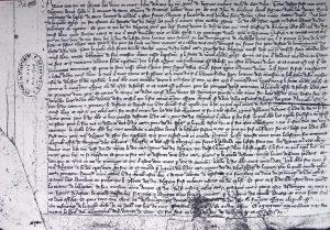 Jugement qui déboute Alain de Clinchamps de son exigence du droit de patronage sur l'église de St Laurent en 1348