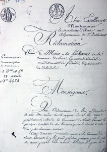 Copie du document original de la Réclamation de 1823