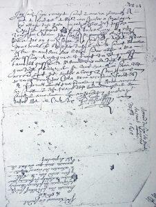 Billet de Paoul Bellenger du 14 octobre 1610 à l'abbé de Fontenay pour con-venir des dîmes de la paroisse de Saint Laurent et du trait du Vieux Grim-bosq. On peut lire l'annotation, apposée lors de la saisie des archives de l'abbaye. Deux erreurs y figurent : le nom du curé « Belbeuf » et le « Val de Grim-bosq » !!!