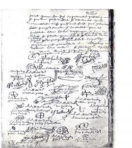 Les signatures de la délibération du 30 mai 1658 Le niveau d'instruction transparaît clairement dans l'élégance ou la gaucherie de l'écriture. L'illétrisme se traduit par des « marques ». En bas à gauche, la signature de Nicolas Bellenger