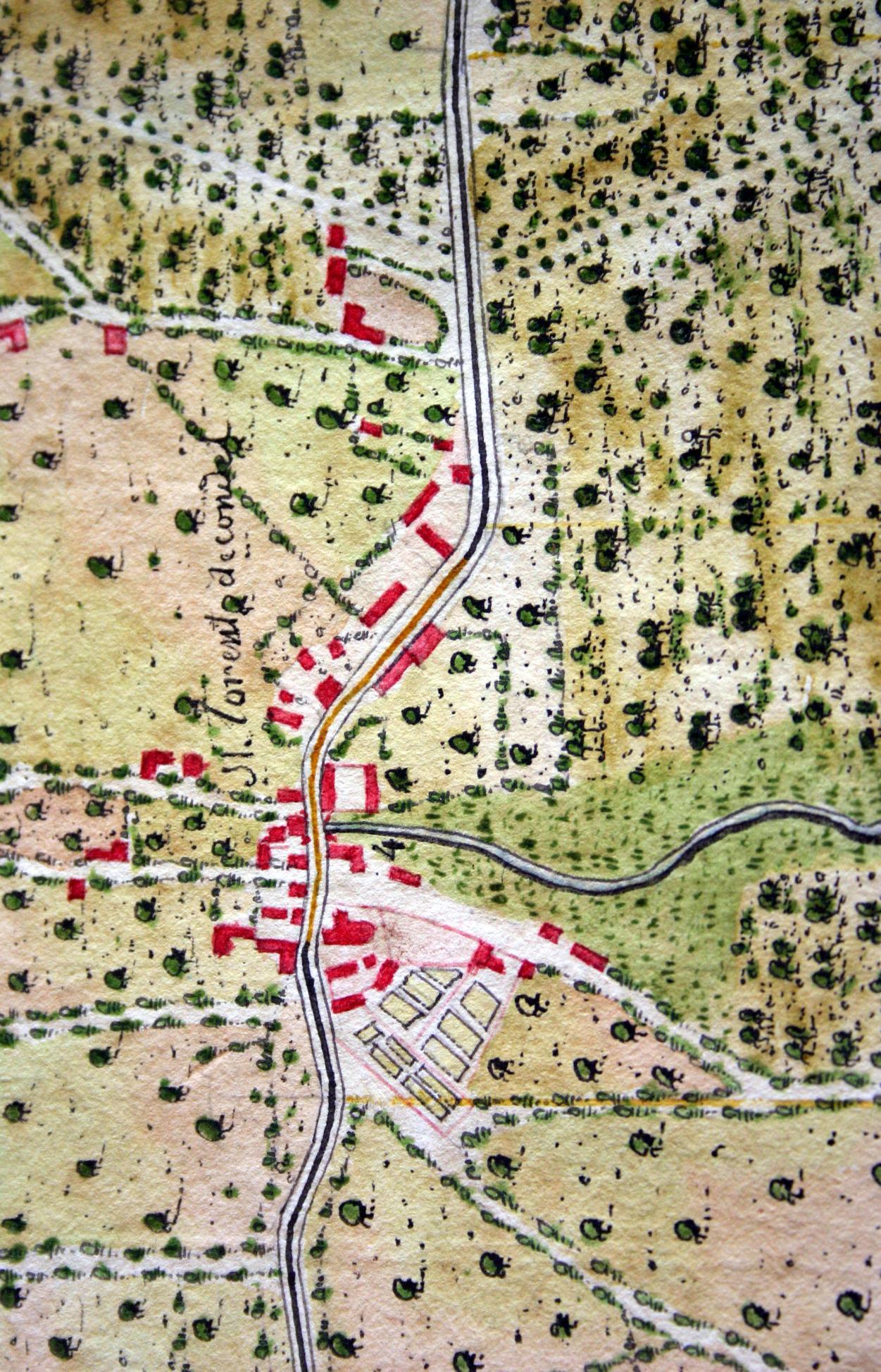 81e002604a1 Plan de la traversée de Saint Laurent de Condel établi lors des études pour  les travaux de la route de Caen à Laval vers 1770