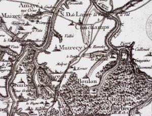 Extrait de la carte de Cassini, établie dans les années 1790 On voit le tracé du Grand chemin de Caen à Harcourt et celui de la route ou-verte juste avant la révolution de 1789, qui est sensiblement différent.