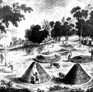 Fabrication du charbon de bois Illustration de l'Encyclopédie de Diderot et d'Alembert (seconde moitié du XVIIIe siècle)