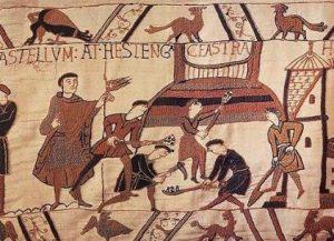 TAPISSERIE DE BAYEUX : Construction de la motte d'Hastings